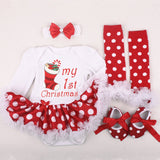 1 st Girls Bodysuit Baby Christmas Dresses Birthday Girl Dress Cute Kid Clothes Tutu Long Sleeve baby Xmas rompers outfits sets