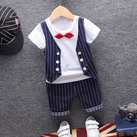 1 year birthday gentleman newborn baby boy clothes formal striped short sleeve suit summer baby boy wear clothing outerwear sets
