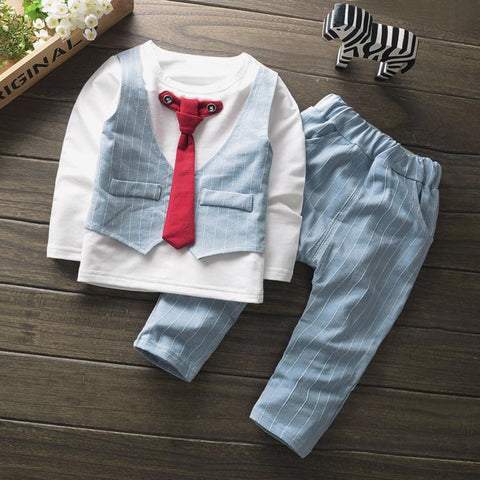 12M-4T baby boys clothing set carnival costume for boy designer for children Tie Stripe T Shirt Tops+Pants suit for the new year