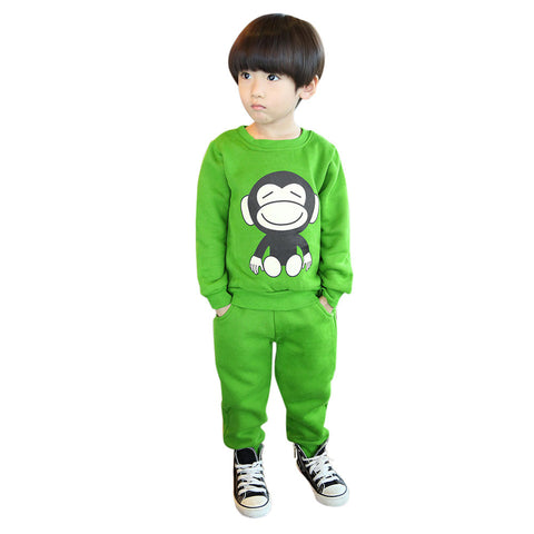 1Set Kids Girls Casual Clothes Fashion Baby Girl Monkey Long Sleeve T-Shirt Sweatshirt Childrens Tops+Pants Set #ES