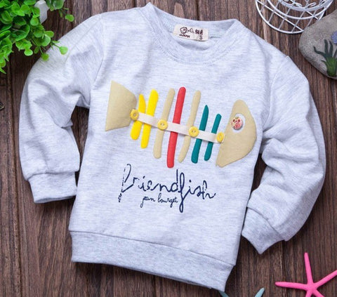 (1piece /lot) 100% cotton 2018   style luck fish hoodies kids