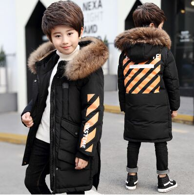 '-20 Degree High Quality New Boy's clothing Long winter Down jacket with for boys Parka Kids Clothes Youth Children Fur hood Coat