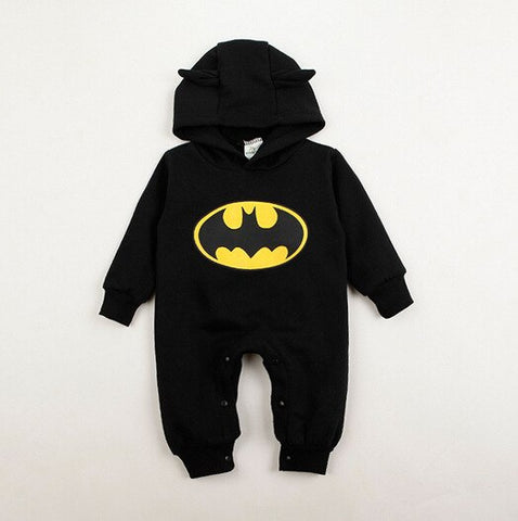 2016 Autumn Winter Hoodies for Boys Kids Cute Newborn Baby Infant Boy Clothes Batman Romper Outfits One-pieces 3-24Months