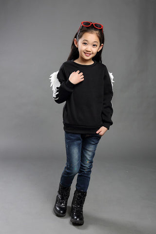 2016 Brand Fashion Autumn Winter Girls Wing Thicken Long Sleeve Cotton Hoody Children Scho Beautiful Clothing Hot Sale