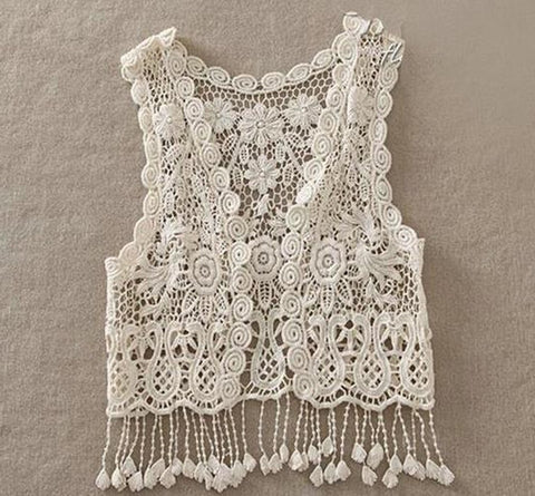 2018 New Baby Toddler Kid Baby Girl Crochet Lace Hollow Out Fringes Tassels Sleeveless shirt Top Vest Tassel Waistcoat