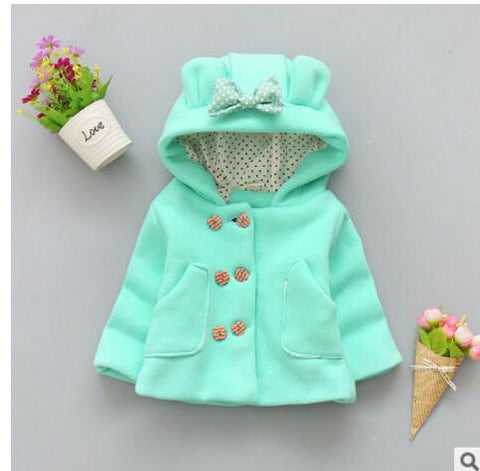 2018   spring and autumn baby girl cotton coat thick double-breasted bow hooded jacket children 0-2 years brand