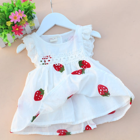 2018 summer cotton  born baby dress print baby girl clothes fly sleeve infant princess dress lovely flower toddler party dress