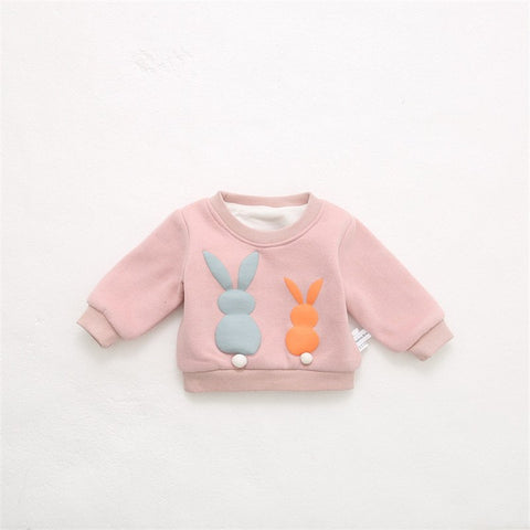 2018 Baby Winter Clothings Newborn Girls Boys Rabbit Printed Pullover Tops Kid Long Sleeve Double Layer Brushed Sweatshirts A704