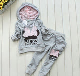 2017 Spring Autumn New Hot Sale Children Clothing Hoodies Cotton Sports Sets Cartoon Girls Kids Bow Suits