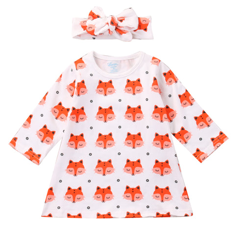2018 Spring Newborn Baby Girl Clothes Long Sleeve Cotton Fox Dress Headband 2PCS Outfit Infant Bebes Casual Dresses