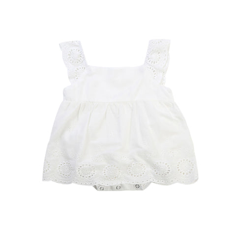 2018 Summer Princess Girls Lace White Dress Cute Newborn Baby Girl Romper One Pieces Toddler Kid Mini Party Dress Sundress 0-24M
