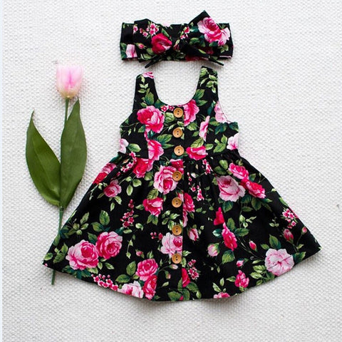 2018 Toddler Kids Baby Girls Sleeveless Headband Princess Floral Sundress Summer Dresses Clothes 6M-4T