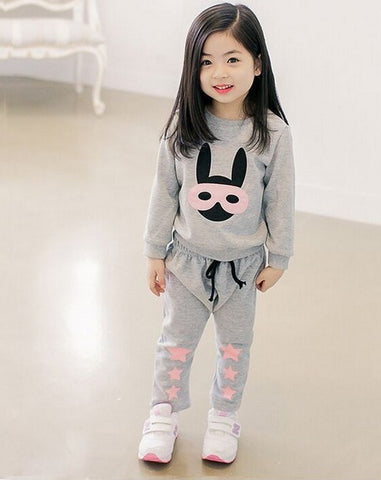 2017 hot sell new spring Kids Sweatshirt sets cartoon rabbit panda print sport girl boy clothes pink designer baby brand toddler