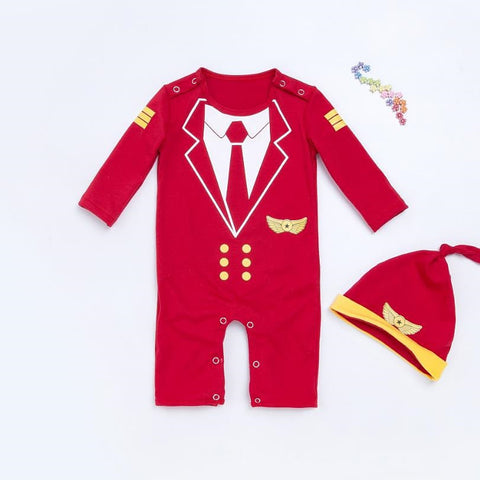 2017 red baby boy girls rompers kids hoodies pilot design jumpsuits long sleeves cotton infant rompers+hat 2pcs kid clothing set