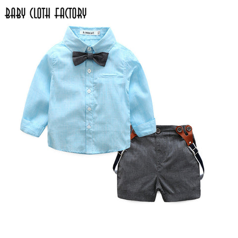 2018 spring baby boy clothes sets tie+solid shirt+suspender shorts 3pcs suits kids clothing sets infant gentleman wedding suits