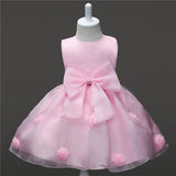 2018 summer baby girl christening gowns 1 year birthday dress Big bow fashion tutu wedding baptism dresses