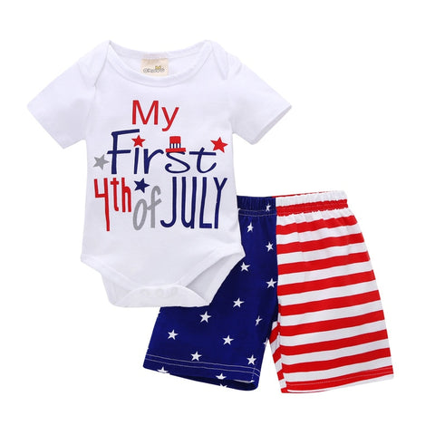 2018 2pcs/sets New Baby boys short Sleeve bodysuit + shorts pants Infant Bebe Boys letter design Brand Clothes