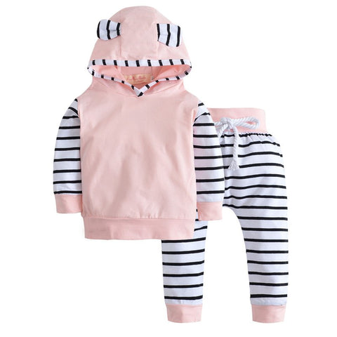 2018 Autumn Baby Boy Clothing Set Long Sleeve Warm Hooded T-shirt+Pants Infant 2pcs/suit Newborn Cute Baby Girls Clothes
