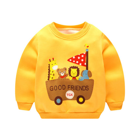 2018 Autumn Baby Girls boy Clothing Cartoon car Printed Long Sleeve Newborns Sweater Boy Girl Thicker