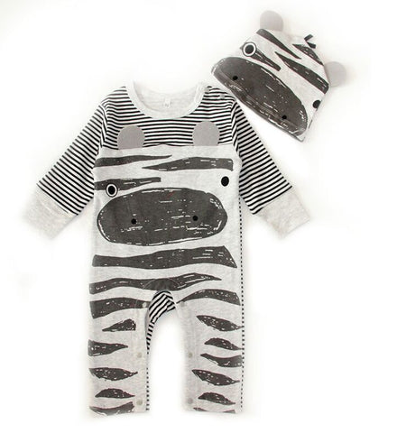 993005d81 2018 Autumn New Fashion baby boy clothes set cows sport rompers+hat ...