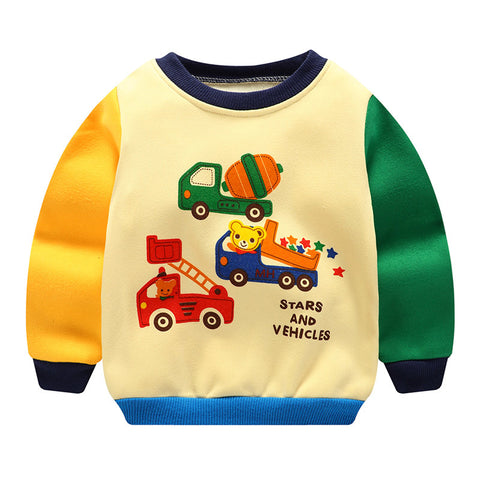 2018 Baby Boy Sweatshirt Casual Patchwork Cartoon Tops Baby Hoodies Outwear Thick Warm Newborn Velvet Baby Autumn Winter Clothes