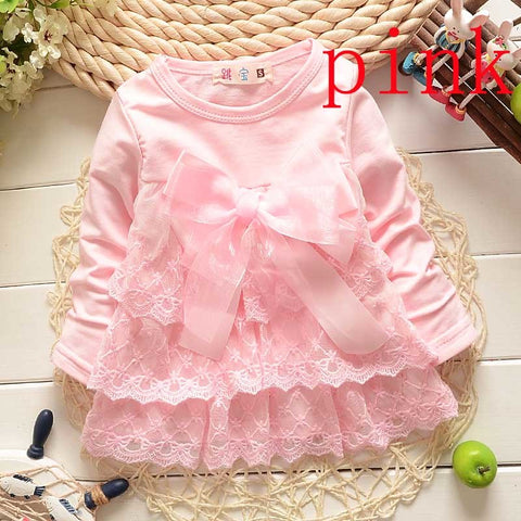 2018 Baby Lace shirts Girls bow cotton girl Princess shirt Party Toddler Kids cute long sleeve