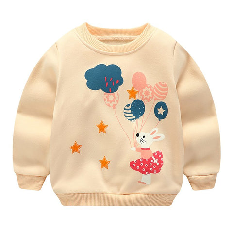 2018 Baby Sweatshirt Long Sleeve Cartoon Tops Baby Hoodies Warm Newborn Velvet Baby Boy Girl Sweatshirts Autumn Winter Clothes