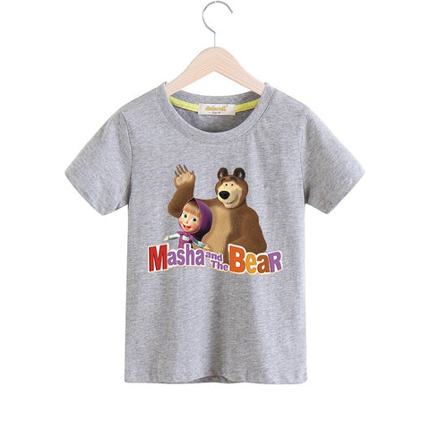 2018 Boy Girls Cartoon Masha And The Bear T-shirt Children Summer Short Sleeves 100%Cotton Tee Tops Clothes Baby Tshirts TX030