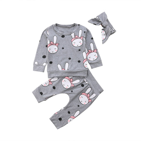2018 Brand New Autumn Winter Toddler Baby Girls Boys Clothes 3PCS Long Sleeve Cartoon Rabbit Sweatshirt Tops+Pant+Headband Sets