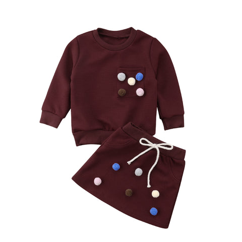 2018 Brand New Fashion Toddler Baby Girls Clothes Sets 2PCS Long Sleeve Solid With Balls Sweatshirts Tops +Mini Skirts Sets 1-6Y