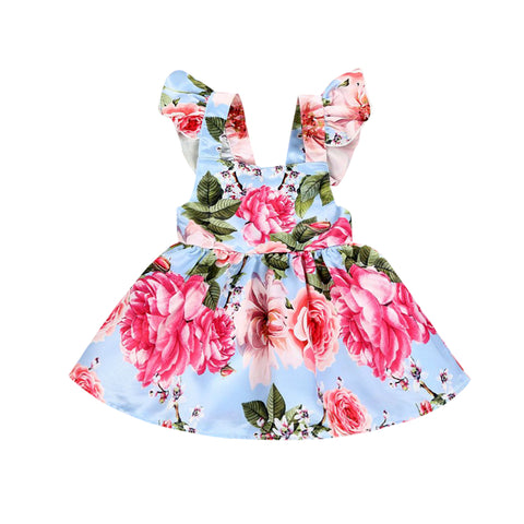 2018 Brand New Lovely Newborn Infant Toddler Baby Girls Flower Summer Party Dress Sleeveless Backless Sundress Floral Clothes