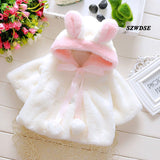 2018 Children's Baby Spring warm tops soft Plush rabbit-ears hoodies newborn cute cosplay clothing 3M-24M Free shipping