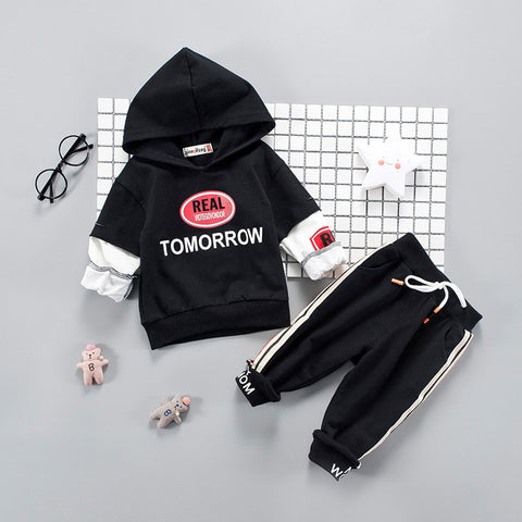 2018 Clothing For Children Sports Outdoor Hoodie For Babies Black Hoodies Pants 2pcs Kids Travel Casual Hoodies Girls Boys Cloth