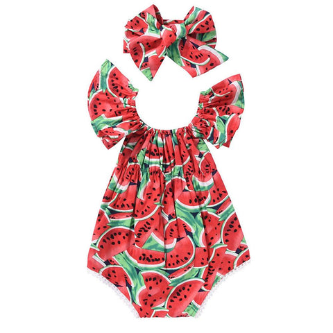 2018 Cute Newborn Kids Baby Girl Clothes Short Flare Sleeve Watermelon Print Bodysuit Headband 2Pcs Set Summer Clothing Outfits