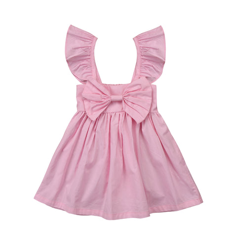 2018 Cute Newborn Kids Baby Girls Clothes Ruffled Bow Party Dress Casual Outfits Summer New
