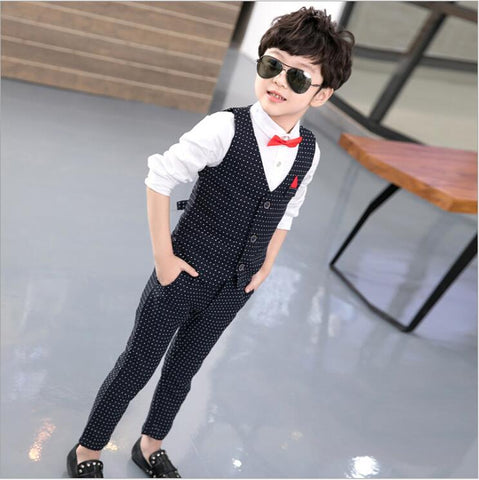 2018 Fashion Baby Boy Clothes Sets Gentleman Suit Toddler Long Sleeve Shirt + vest + Pants 3 pcs Boys Clothing best man Outfits