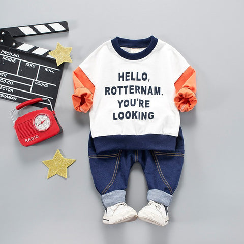 2018 Fashion Spring Baby Clothes Baby Hoodie Hoodies Sweatshirts Casual Unisex Kids Clothes Set Suits Cotton O-neck Comfort Sets