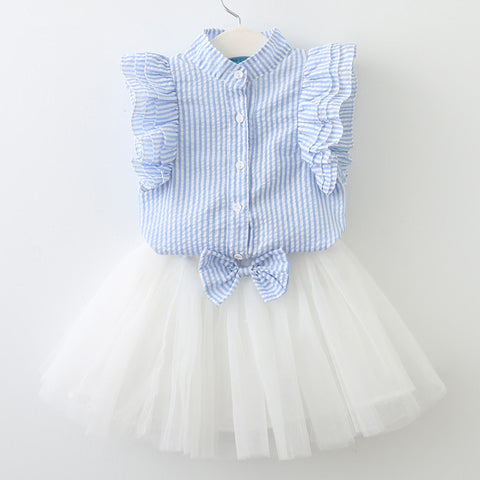 2018 Girls Shirt Skirt Suit Kids Vertical Striped Shirt + Bow Skirt 2 Pcs Sets Childrens Clothes 3-7 Years