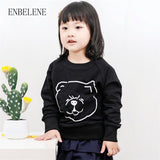 2018 Hot Sale Spring Baby Girls Cotton Sweatshirts Children Cartoon Black Little Kids Full sleeve Pullover T shirt Tops FH481