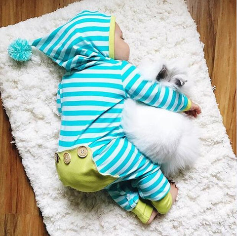 2018 Hot sell Autumn baby clothes Hooded Long sleeve baby rompers blue stripe baby boy girl clothing set newborn infant Outfits