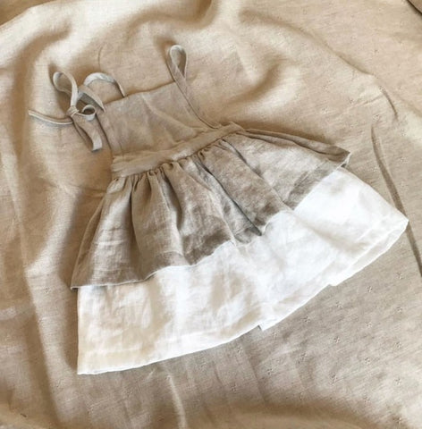 2018 Ins European Summer Toddler Baby Girl Dress Linen Vintage Clothes