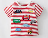 2018 Kid T-shirt Summer Children Boys Cartoon Tee Shirt Cute Cartoon Vehicle and Balloon Pocket Tops 1-6Y