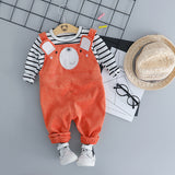 2018 Limited New Casual For Bebek Baby Girl Store Baby Autumn Two-piece 0-3 Year-old Boy Bear Corduroy Bib Set