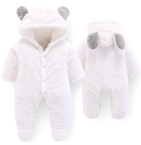 2018 New Autumn Winter Baby Romper 1 to 12M Kids Newborn Footies Bodysuit Hooded Infant Cotton Jumpsuit Baby Boy Girl Clothing