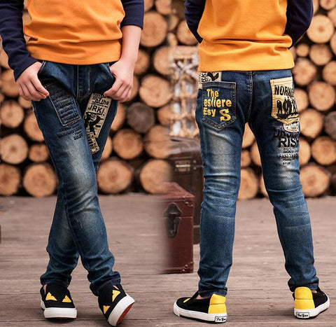 2018 New Boy's jeans ye boys pants fit for Spring and autumn baby boys jeans children trousers, Kids Dark Blue Pants 2-14 age