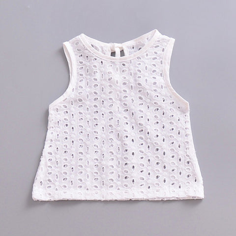 2018 New Fashion Baby Cute Lace Hollow Tops T-shirt Blouse White Outfits Sleeveless Newborn Baby Girl Cotton T-shirt