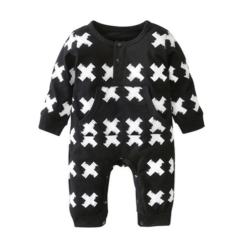 2018 New Fashion baby clothing set unisex Cotton Long Sleeve Cross Pattern Toddler Romper  born baby boy girl clothes set
