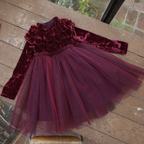 2018 New Princess Kids Baby Girls Dress Velvet Fleece Party Ruffle Neck Children Formal Lace Ball Gown Tulle Tutu Wine Dress Hot