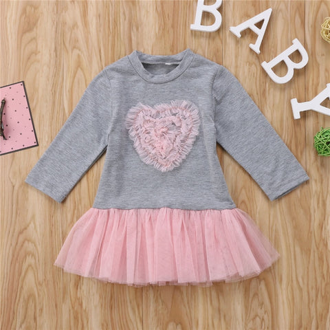 2018 New Year Costumes For Girls Fashion Kids Baby Girl Long Sleeve Heart Lace Tutu Tulle Dress Baby Girls Clothes Cute Vestido