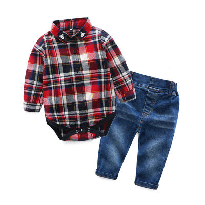 2018 New spring design boys long-sleeved plaid bodysuit+denim pant set children's casual clothes handsame kids jeans set 17N1120